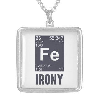 Ironic Chemical Element FE Irony Square Pendant Necklace