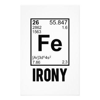 Ironic Chemical Element FE Irony Stationery