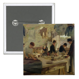 Ironing Workshop in Trouville, 1888 2 Inch Square Button