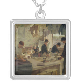 Ironing Workshop in Trouville, 1888 Square Pendant Necklace