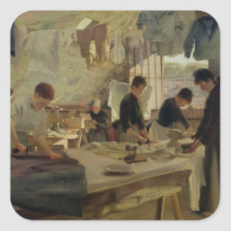 Ironing Workshop in Trouville, 1888 Square Sticker