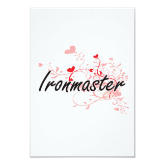 Ironmaster Artistic Job Design with Hearts 3.5x5 Paper Invitation Card