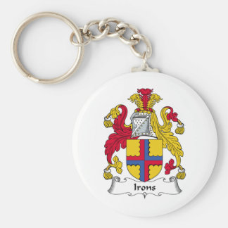 Irons Family Crest Basic Round Button Keychain