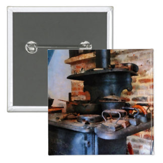 Irons Heating on Stove Pinback Button