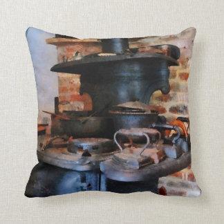 Irons Heating On Stove Throw Pillow