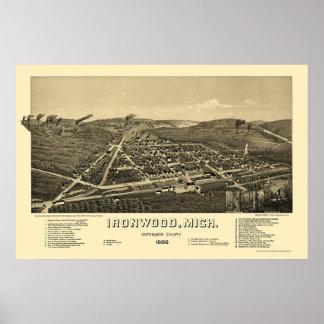 Ironwood, mapa panorámico del MI - 1886 Posters