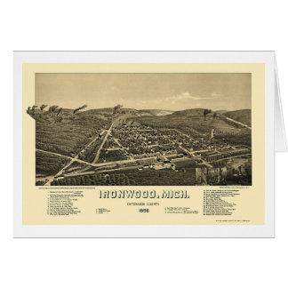 Ironwood, mapa panorámico del MI - 1886 Felicitación