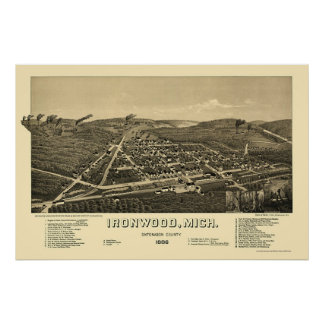 Ironwood, MI Panoramic Map - 1886 Poster