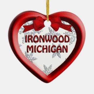Ironwood Michigan Snowflake Heart Ornament