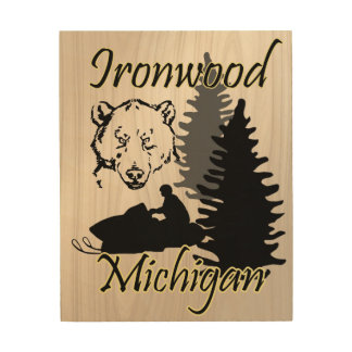 Ironwood Michigan Snowmobile Bear Wood Art