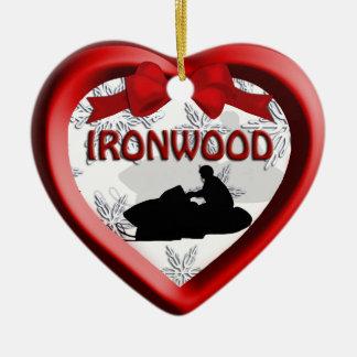 Ironwood Michigan Snowmobile Heart Ornament