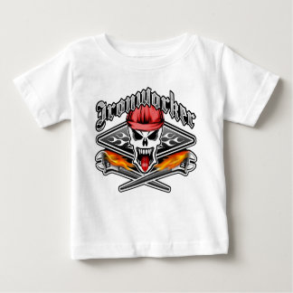 Ironworker Skull 2.1 and Flaming Spud Wrenches Baby T-Shirt