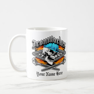 Ironworker Skull and Flaming Crossed Wrenches Classic White Coffee Mug