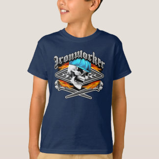 Ironworker Skull and Flaming Crossed Wrenches T-Shirt