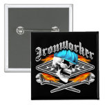 Ironworker Skull and Flaming Wrenches 2 Inch Square Button