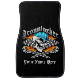 Ironworker Skull and Flaming Wrenches Car Mat