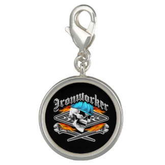Ironworker Skull and Flaming Wrenches Charm