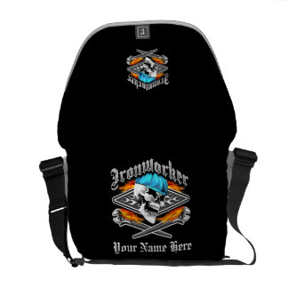 Ironworker Skull and Flaming Wrenches Courier Bag