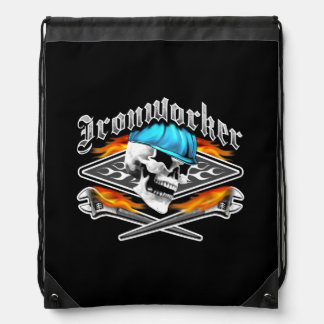 Ironworker Skull and Flaming Wrenches Drawstring Bag