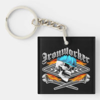 Ironworker Skull and Flaming Wrenches Keychain