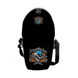 Ironworker Skull and Flaming Wrenches Messenger Bag