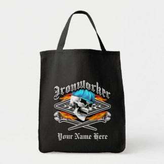 Ironworker Skull and Flaming Wrenches Tote Bag