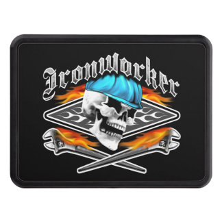 Ironworker Skull and Flaming Wrenches Trailer Hitch Cover