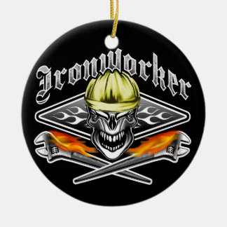 Ironworker Skull and Spud Wrenches 10 Ceramic Ornament