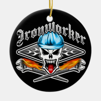Ironworker Skull and Spud Wrenches 2.1 Ceramic Ornament