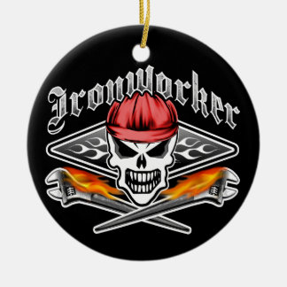 Ironworker Skull and Spud Wrenches 2 Ceramic Ornament