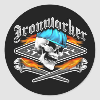Ironworker Skull and Spud Wrenches Classic Round Sticker