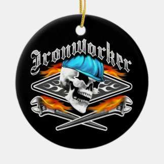 Ironworker Skull and Spud Wrenches Double-Sided Ceramic Round Christmas Ornament