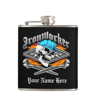 Ironworker Skull and Spud Wrenches Hip Flask