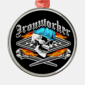 Ironworker Skull and Spud Wrenches Metal Ornament
