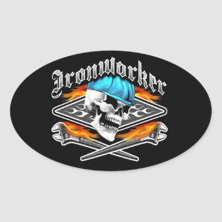 Ironworker Skull and Spud Wrenches Oval Sticker