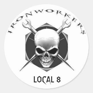 IRONWORKER SKULL Local 8 Classic Round Sticker