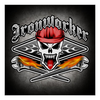 Ironworker Skull with Flaming Crossed Wrenches Poster