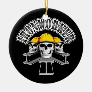Ironworker Skulls Double-Sided Ceramic Round Christmas Ornament