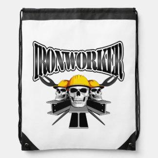 Ironworker Skulls Drawstring Bag