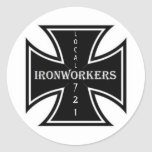 IRONWORKERS IRONCROSS, LOCAL, 721 ROUND STICKER