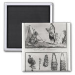 Iroquois family, arms and ornaments 2 inch square magnet