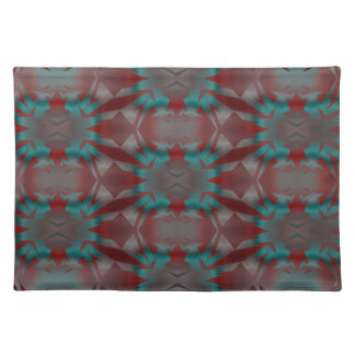Irradiant in red and turquoise place mat