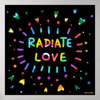 Irradie la pintura colorida del arco iris del amor póster