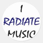 Irradio música pegatina redonda