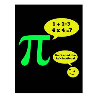 Irrational Pi Humor Postcard