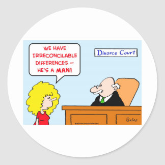 irreconcilable differences divorce classic round sticker
