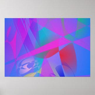 Irregular Forms Light Blue Abstract Print