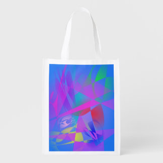 Irregular Forms Light Blue Abstract Reusable Grocery Bag