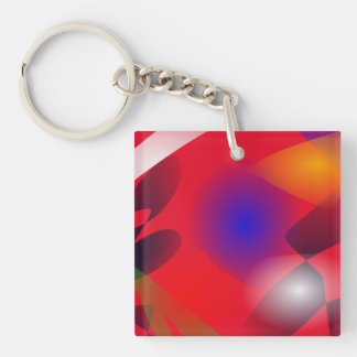 Irregular Forms on the Red Background Keychain