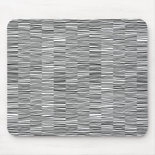 Irregular Lines - Black on White Mouse Pad